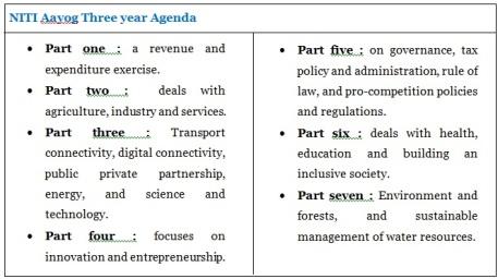 NITI 3 year Agenda